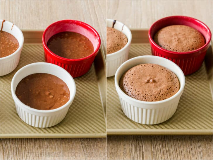 Chocolate cakes in ramekins before and after baking