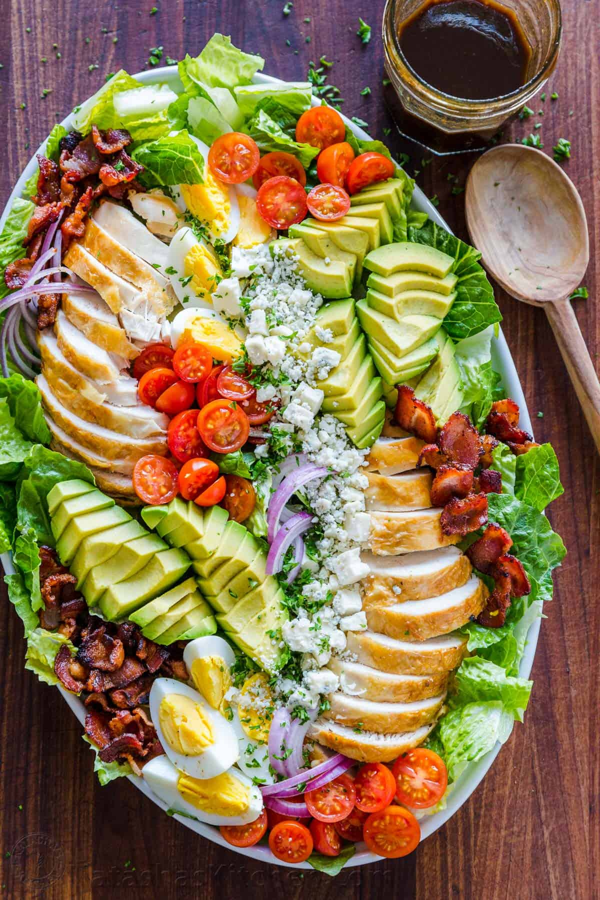 Cobb Salad and dressing made ahead and arranged on a platter