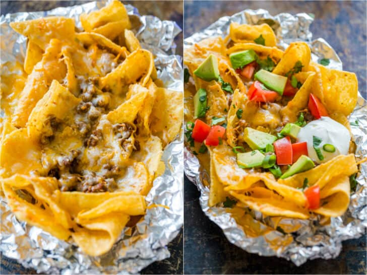 Foil pack baked nachos before and after adding toppings