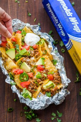 foil pack baked nachos with nacho toppings