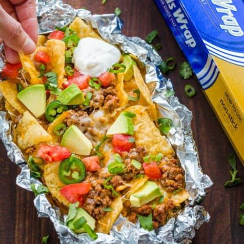 Foil-Pack Baked Nachos Recipe - NatashasKitchen.com