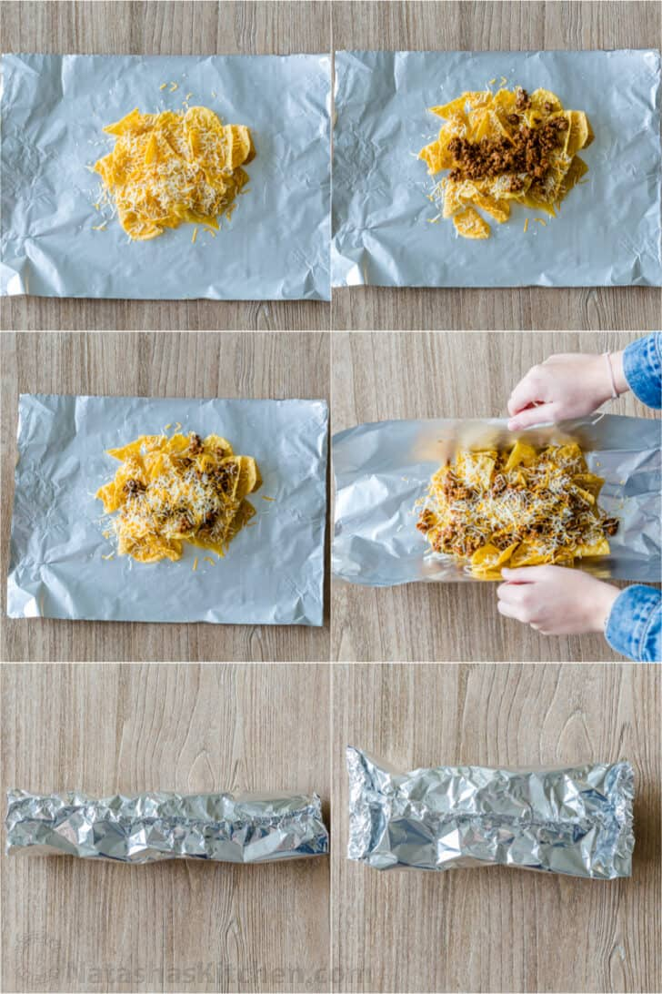 How fold foil packs with nachos inside for baked nachos