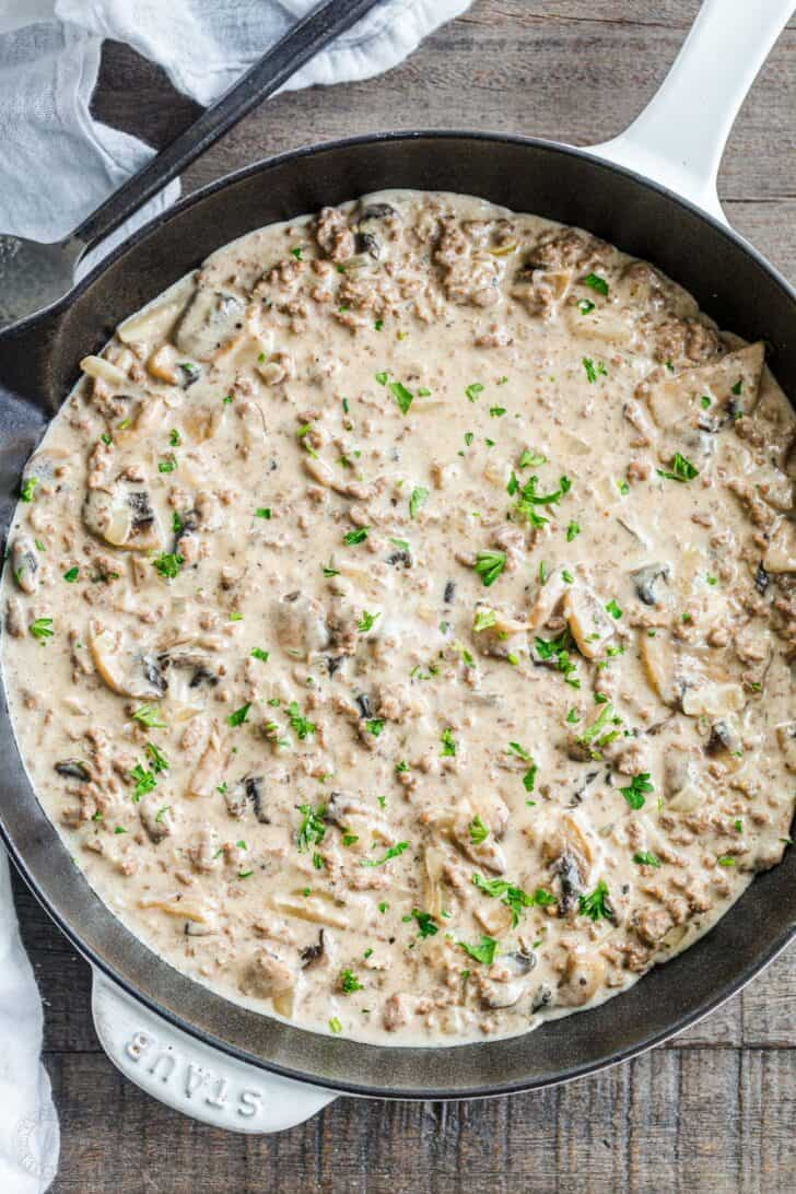 Ground Beef Stroganoff in a cooking pan