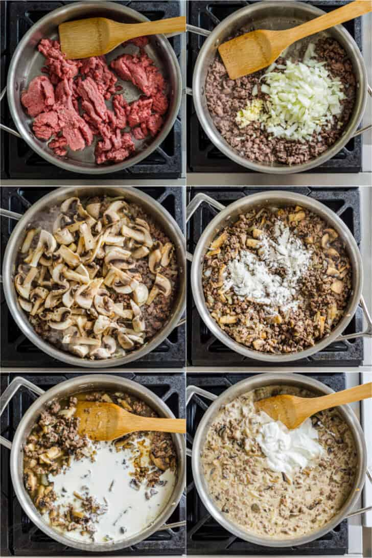 Step by step image instruction to making Ground Beef Stroganoff
