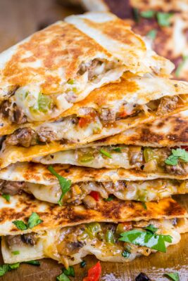 Philly Cheesesteak Quesadillas cut and stacked