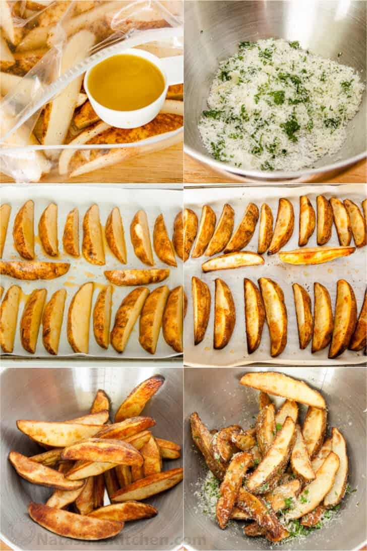 How to make baked potato wedges in a zip-lock bag with oil, with cheese and parsley in bowl, potatoes lined on a baking sheet, and being tossed in a bowl with the parsley and cheese.