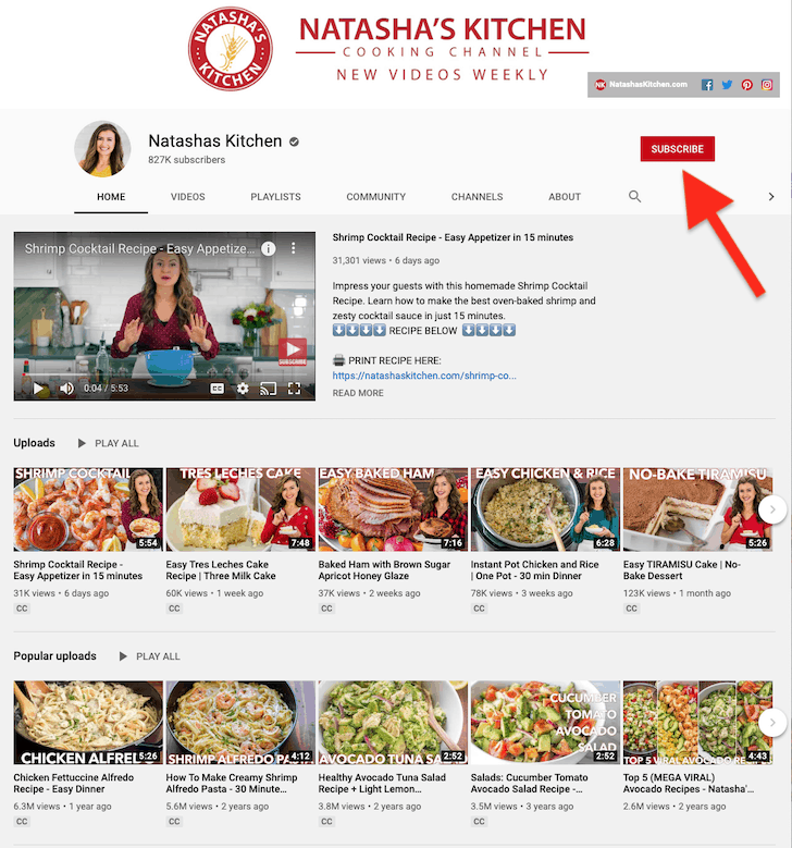 Natasha\'s Kitchen Youtube Channel screenshot with an arrow pointed at the Subscribe button.