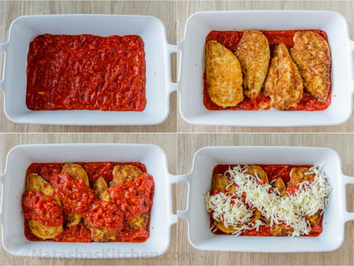 Step by step assembling chicken parmesan in casserole dish with marinara and mozzarella cheese