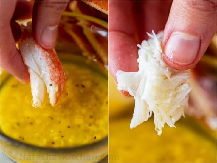 Crab meat dipped into homemade crab dipping sauce