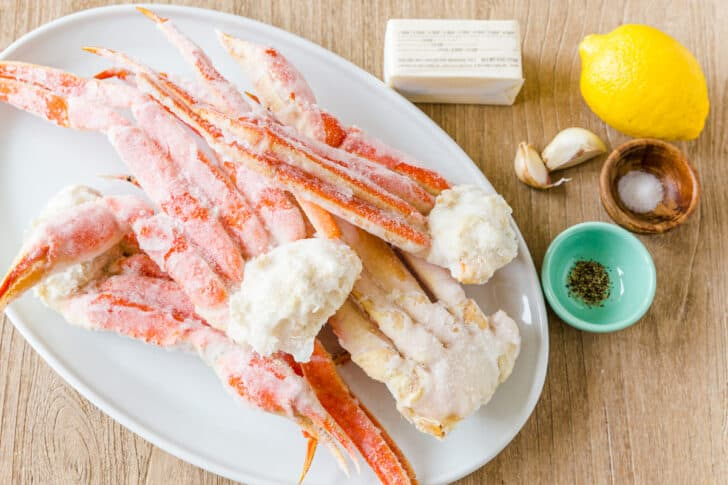 Ingredients for home cooked crab with lemon garlic butter dipping sauce
