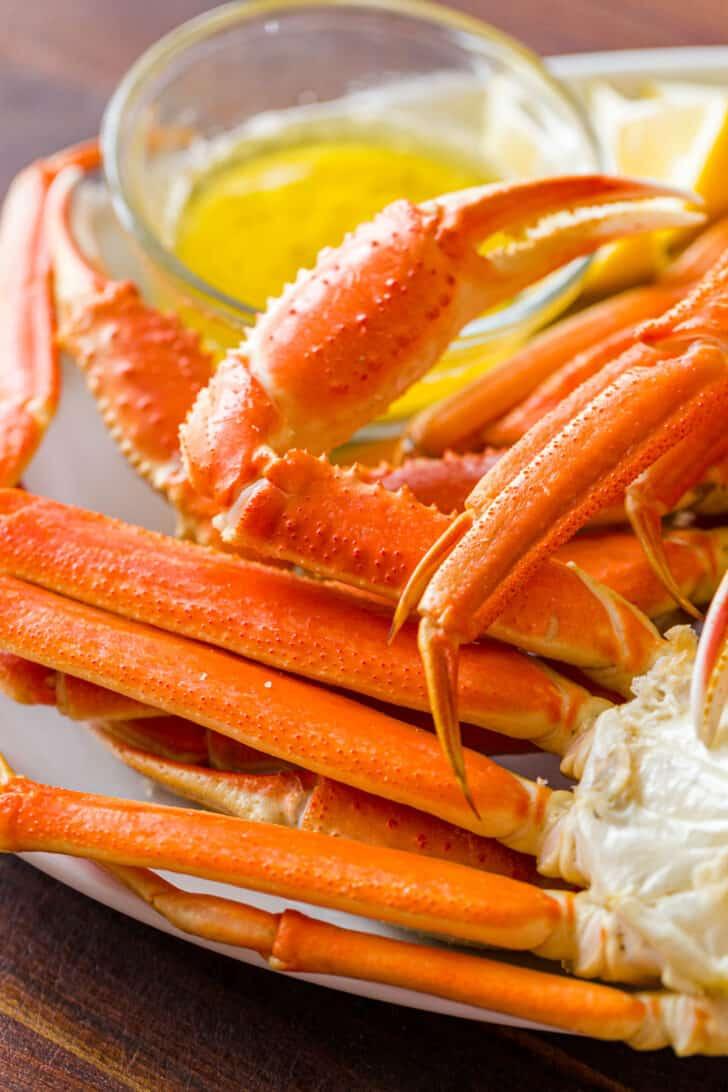 Snow crab legs on platter