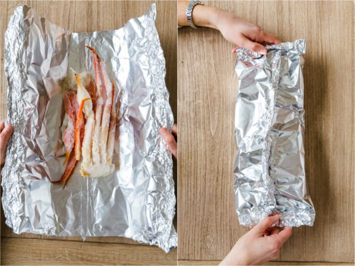Crab legs in foil packs for grilling and baking