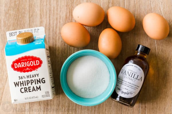 Ingredients for creme brulee with heavy cream, eggs, sugar and vanilla extract
