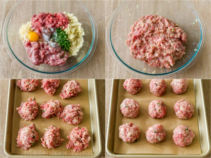 How to make juicy meatballs by combining meat mixture with hands then forming round balls with wet hands