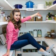 Natasha's Kitchen in her organized pantry