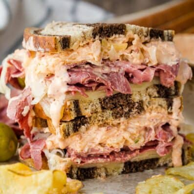 Reuben Sandwich Stacked and loaded with meat, coleslaw and Russian dressing