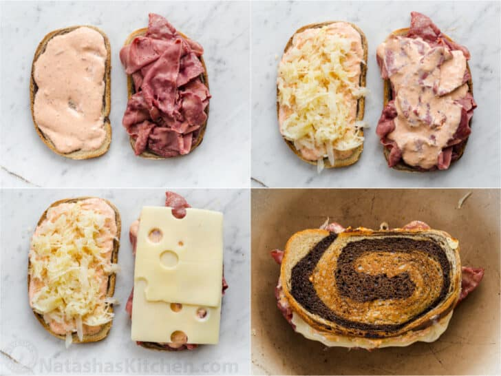 Detailed step-by-step collage how to make a traditional Reuben Sandwich recipe.