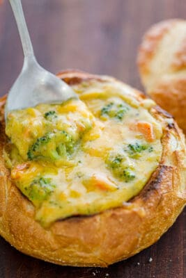 Panera Copycat Broccoli Cheese soup served in bread bowl