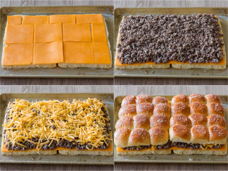 How to assemble sliders with buns, cheese, ground beef, more cheese and topped with slider buns.