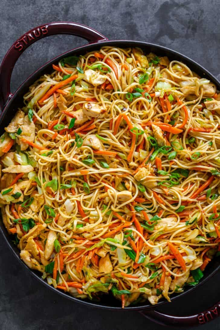 A dish with Chicken Chow Mein