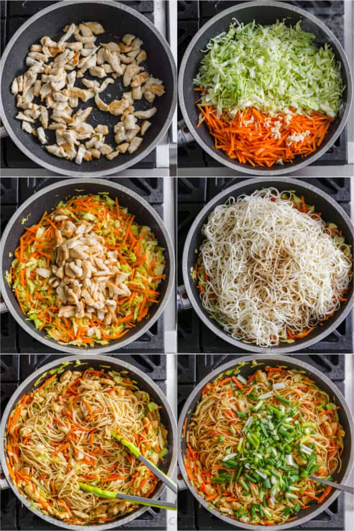 Step by step photos of making chicken chow mein.