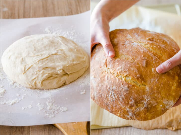 Loaf of no knead bread before and after baking