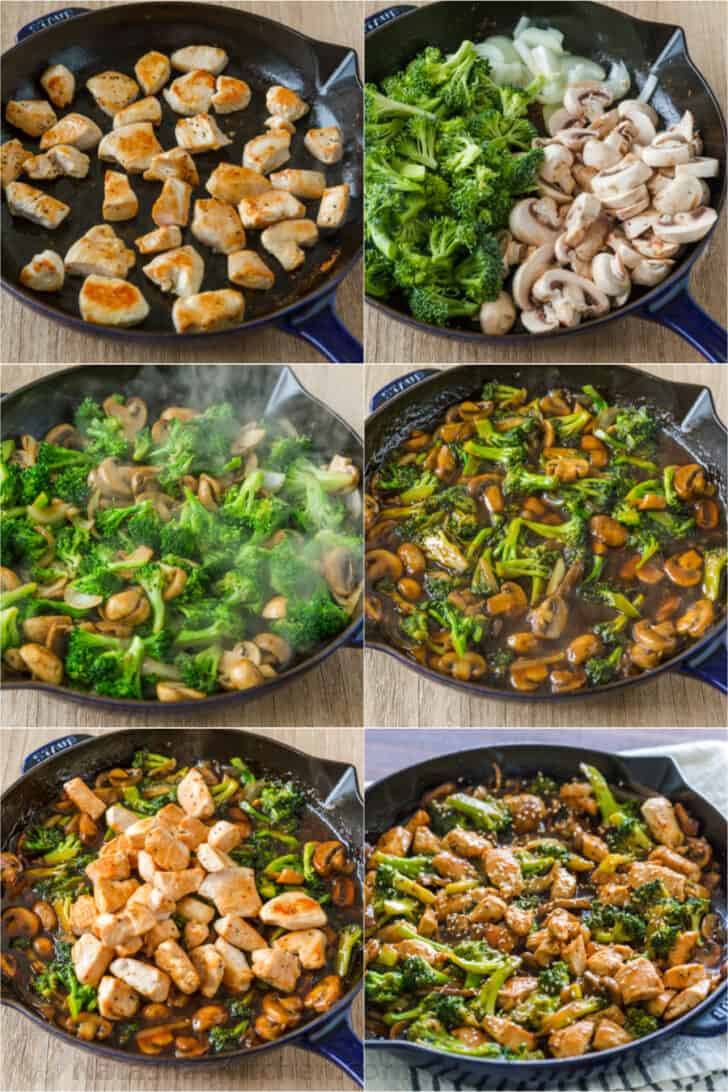 Step by step photos for cooking broccoli chicken mushroom stir fry