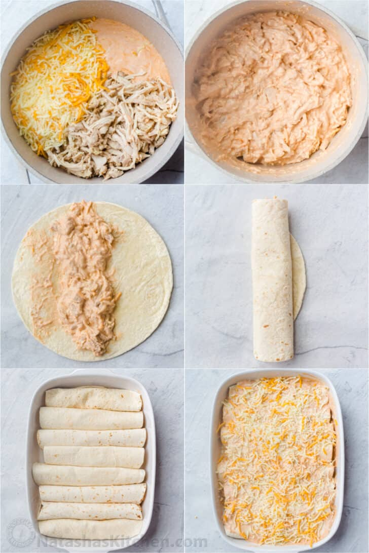 Detailed step-by-step photo collage how to make the filling for chicken enchiladas and how to assemble them into a casserole dish.