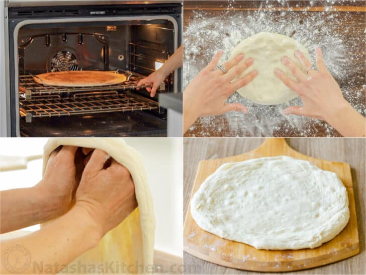 Forming a pizza crust and baking on a pizza stone