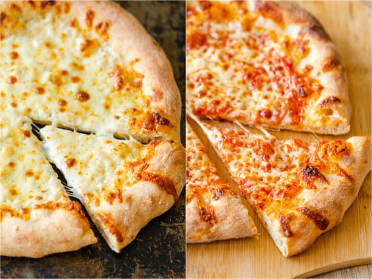 side by side baked pizzas with white sauce and red sauce