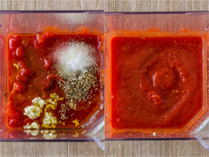 Blending pizza sauce ingredients in a blender