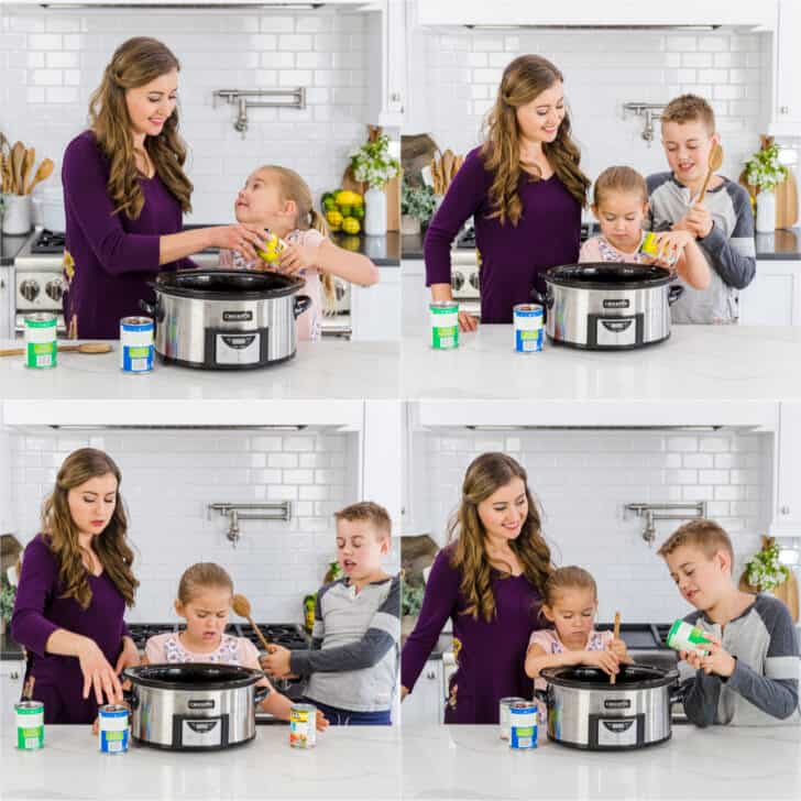 Making chili in a slow cooker with kids