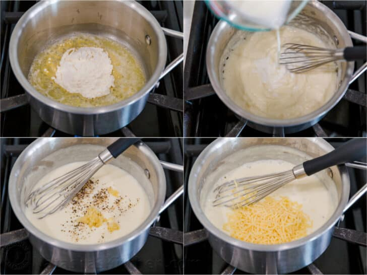 Process photos for how to make white sauce for pizza in a saucepan