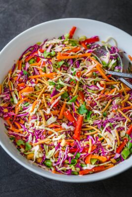 Asian Chopped Salad in Mixing Bowl