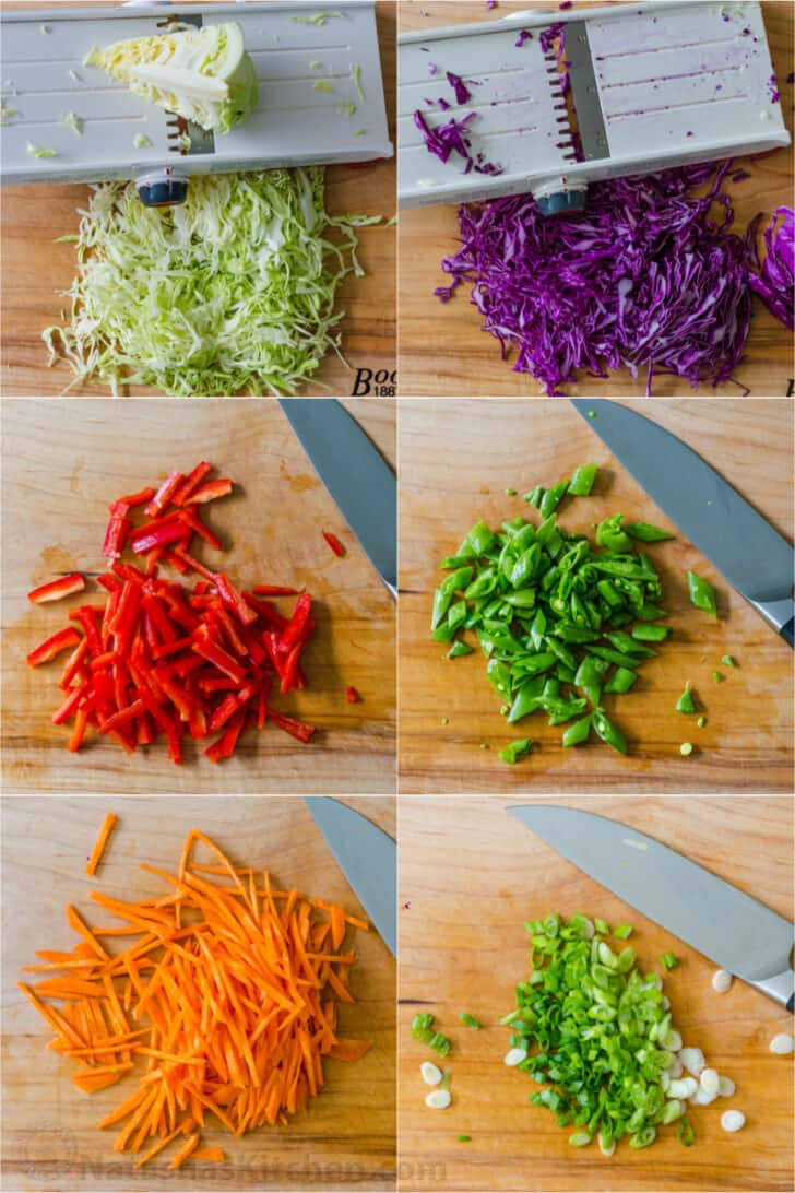 Step by step of cutting all the veggies for the salad
