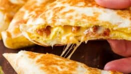 Breakfast quesadilla with cheese pull