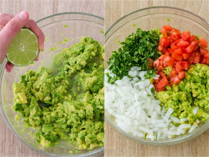 Making guacamole process with mashed avocados, lime juice, tomatoes, onions, cilantro