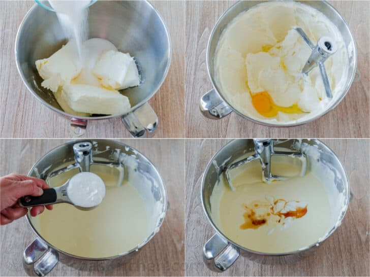 Step by step photos how to make a cheesecake filling