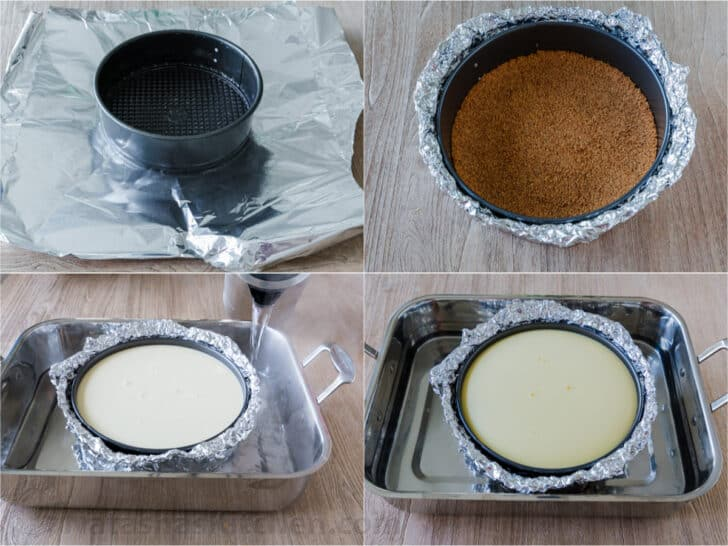 Instructional photos showing wrapping a pan in foil and baking cheesecake in water bath
