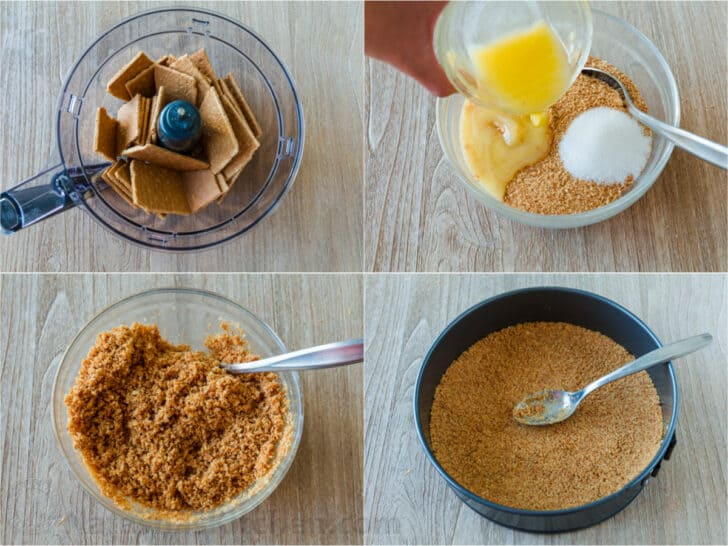 Step by step how to make a cheesecake crust with graham crackers