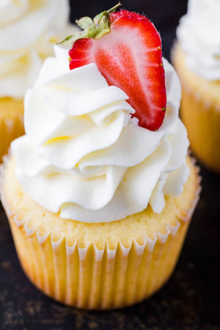 Vanilla Cupcake Frosting Piped onto a cupcake