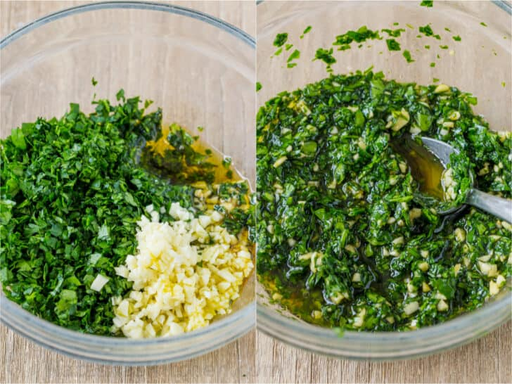 step by step how to make chimichurri sauce in a bowl with parsley, garlic, oil, lemon juice and soy sauce