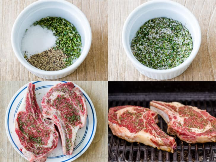 Step by step photos of seasoning and grilling steak
