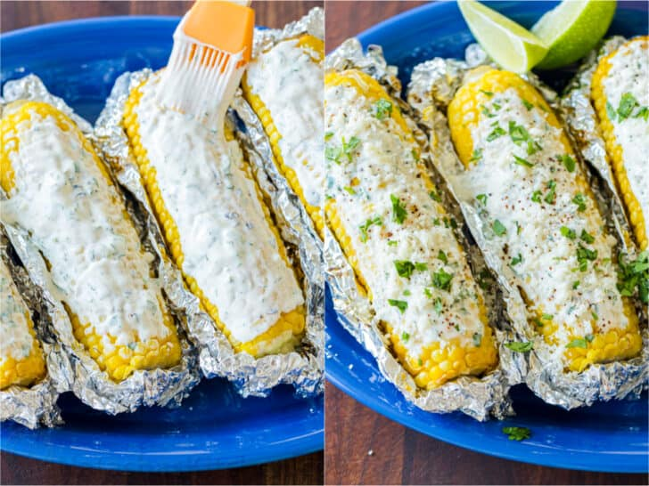 Brushing on sauce and adding garnish on elote corn