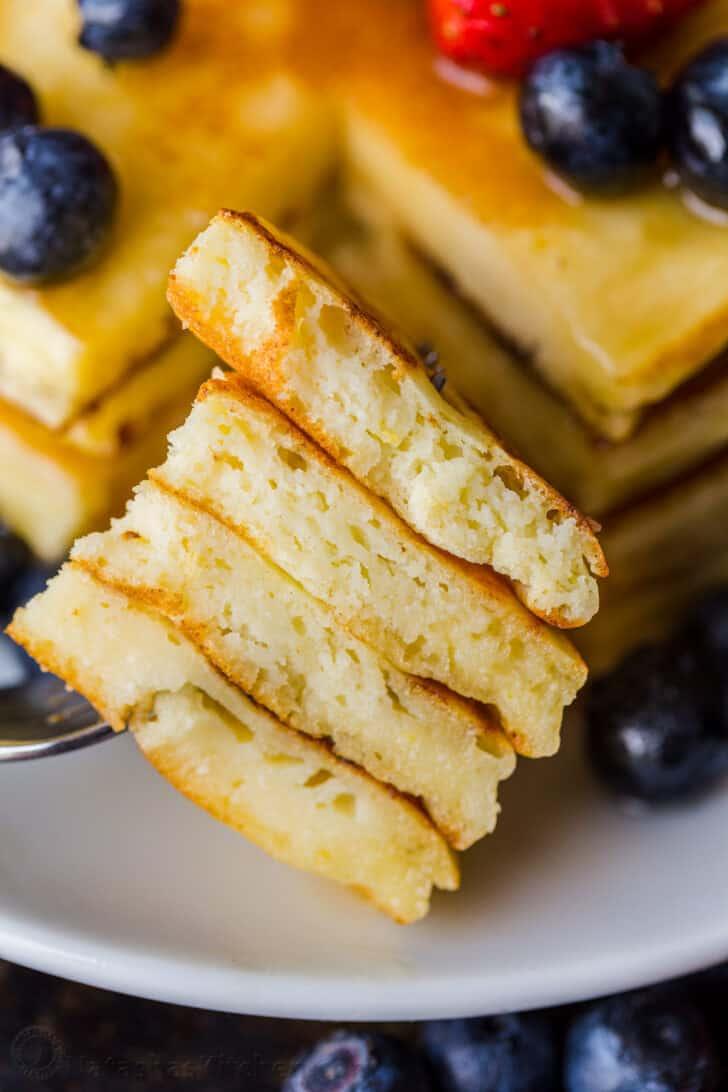 Pancake slices on a fork
