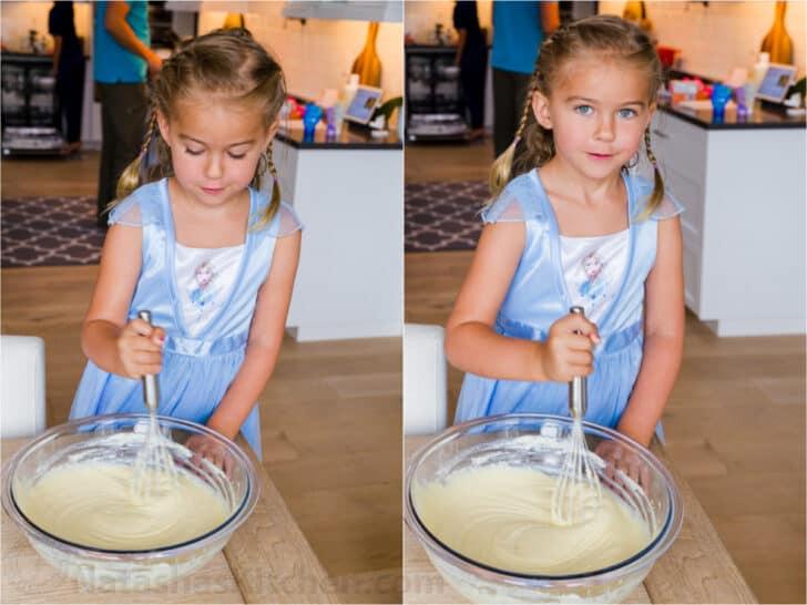 girl making pancake batter