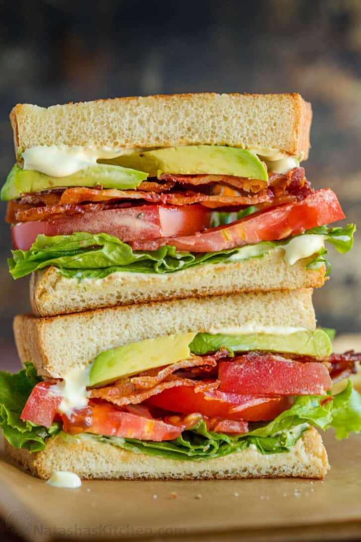 Stacked BLT Sandwiches cut in half to show center