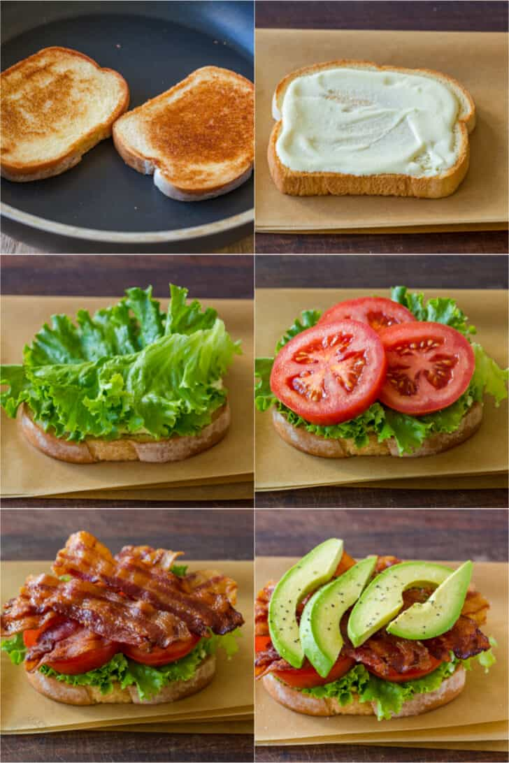 Toasting bread and assembling a BLT sandwich in the proper order