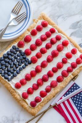 Berry Puff Pastry Tart with Flag Pattern