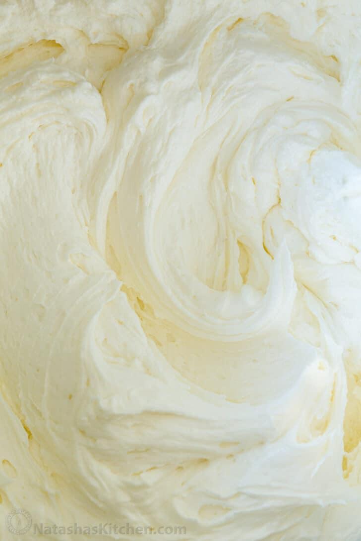 Swirls of vanilla flavored buttercream frosting